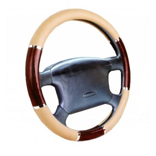 Pokrowiec kierownicy imitacja drewna - beż