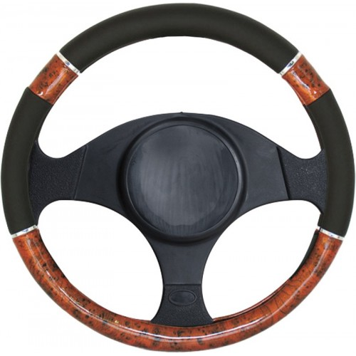 Pokrowiec kierownicy imitacja drewna - czarny