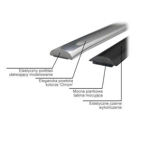 Listwa ozdobna 9mm srebrna chrom Paczka 8mb.