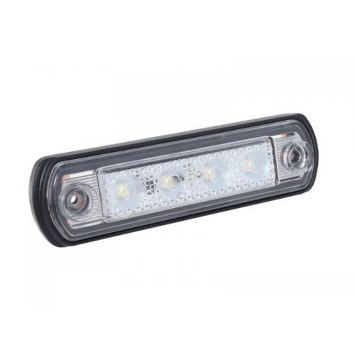 Lampa obrysowa diodowa 4x LED, boczna biała 12/24V