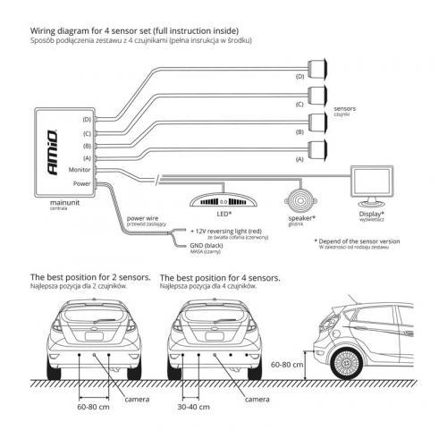Czujniki parkowania przód + tył buzzer 8 sensorów