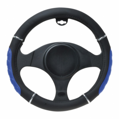 Pokrowiec kierownicy czarno-niebieski 37-39cm