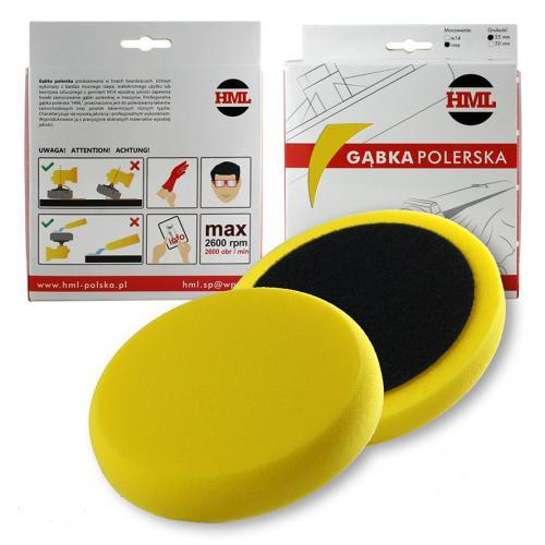 HML Pad polerski żółty średni gąbka 150mm na rzep