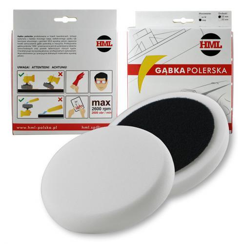 HML Pad polerski biały twardy gąbka150mm na rzep