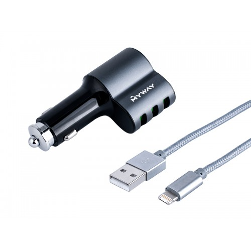 Ładowarka 3xUSB z gniazdem kabel iPhohe Lightning
