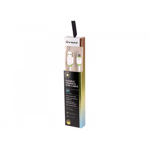 Kabel MYWAY do telefonu w oplocie USB-USB-C 100 cm
