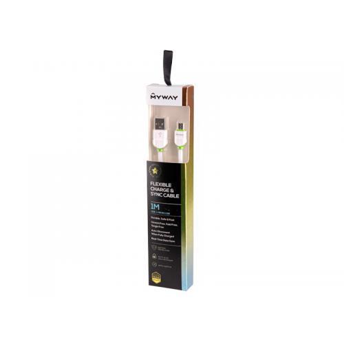 Kabel MYWAY do telefonu w oplocie USB-Micro USB 1m