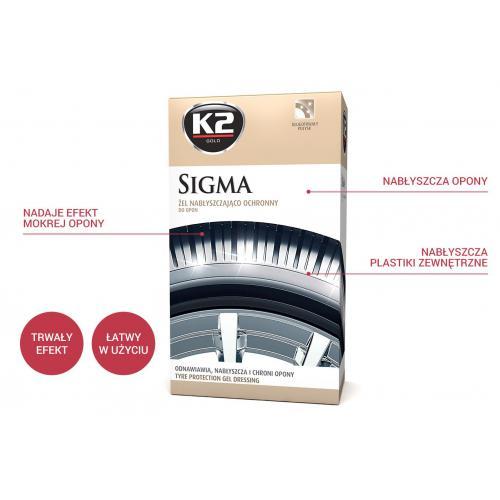 K2 Sigma Żel do nabłyszczania opon i gumy + gąbka