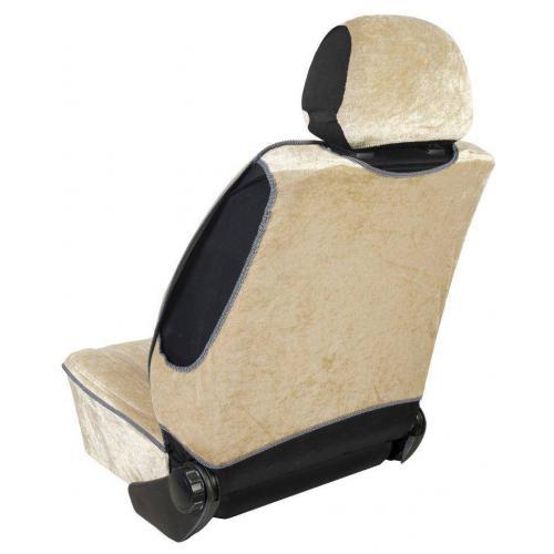 Pokrowiec na fotel uni profilowany XL Welur Beżowy