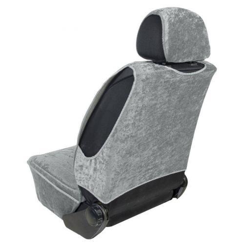 Pokrowiec na fotel uni profilowany XL Welur Szary